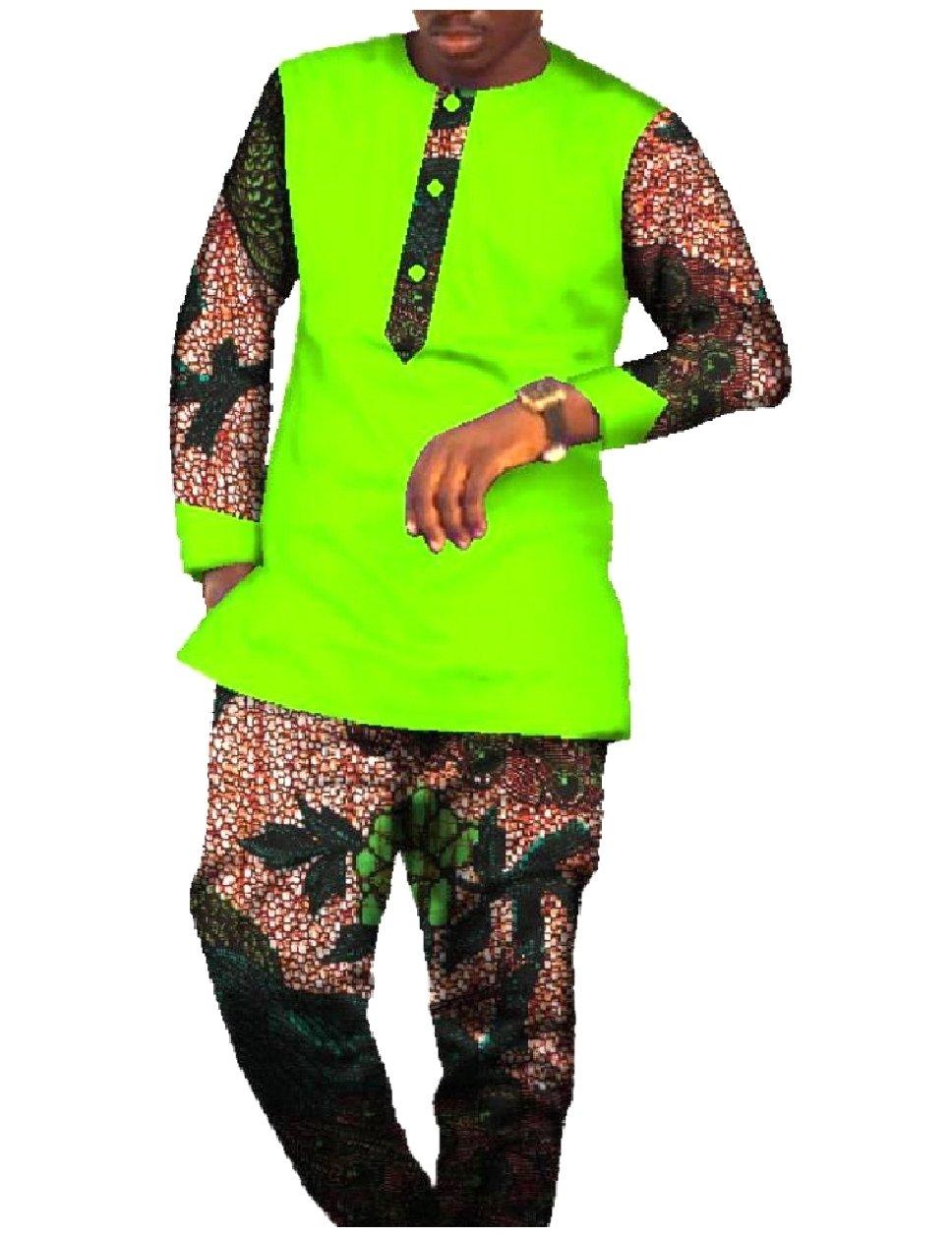 YUSKY Men Dashiki Fine Cotton African Wax Fabric Pants + Shirt Sets 8 XL