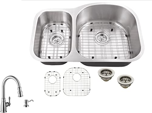 MSLX3070P5892, 31 x20 x9 30 70 Offset 16 Gauge Double Bowl Kitchen Sink Stainless Steel and Faucet
