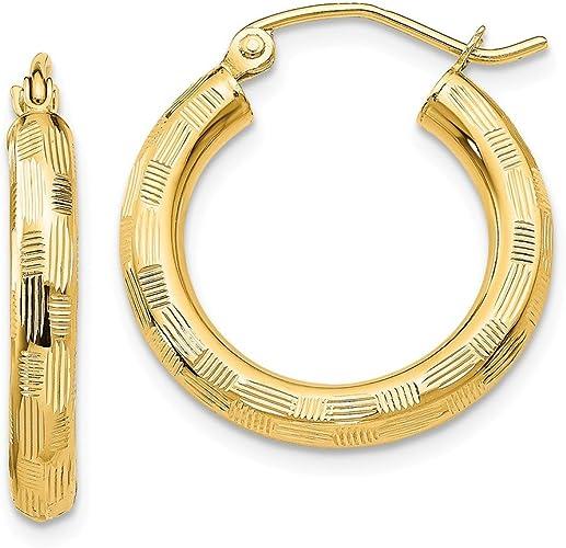 Mia Diamonds 14k Yellow Gold Gold and White Rhodium Diamond-Cut and Polished Hoop Earrings