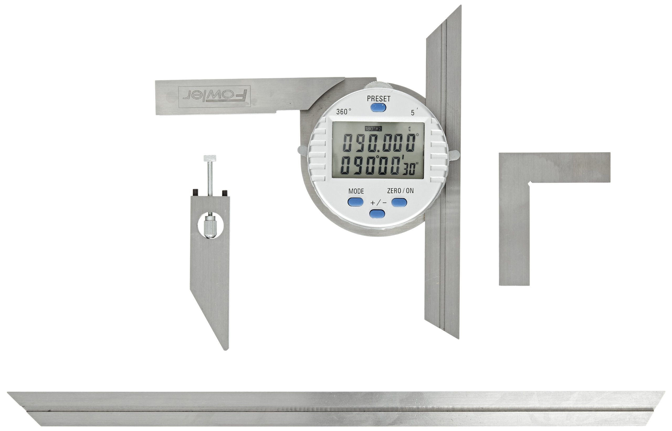 Fowler 54-440-750 Stainless Steel Electronic Universal Digital Protractor with 6'' and 12'' Blades
