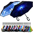 Spar. Saa Double Layer Inverted Umbrella with C-Shaped Handle, Anti-UV Waterproof Windproof Straight Umbrella for Car Rain Ou