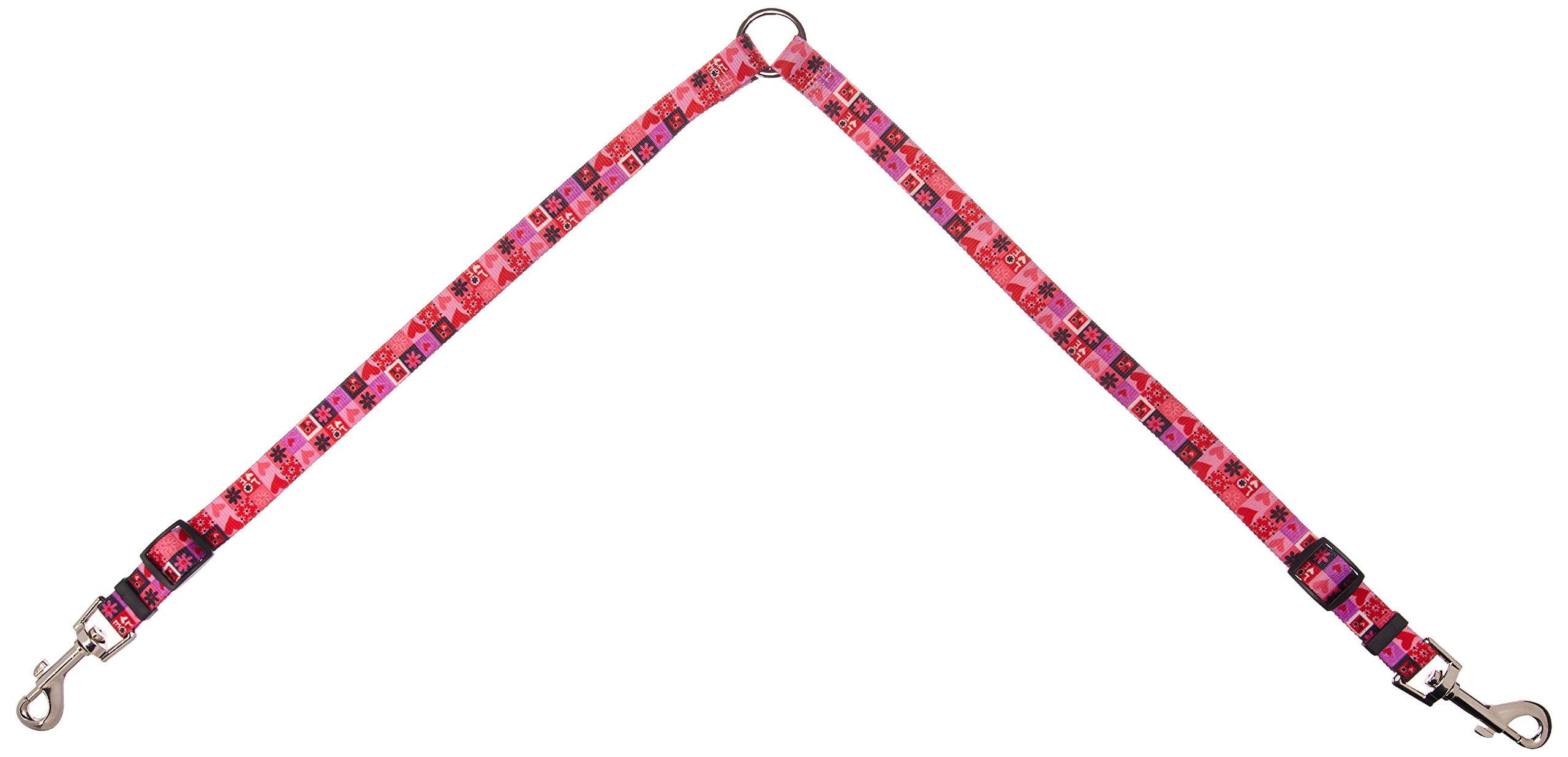Yellow Dog Design Valentines Blocks Coupler Dog Leash-Size Medium-3/4 inch Wide and 12 to 20 inches Long by Yellow Dog Design