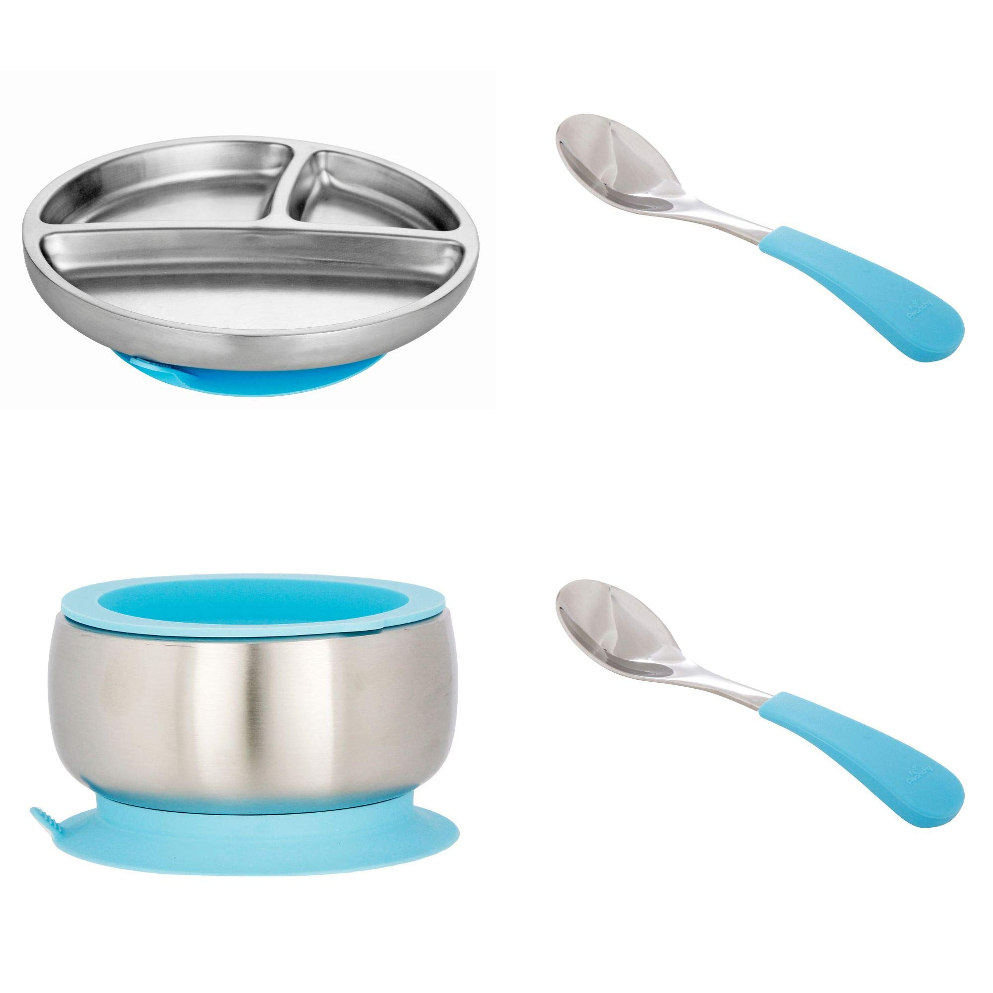 Avanchy Stainless Steel Toddler Feeding Divided Plate, Bowl & Spoons + Silicone Suction, Infant, Kid or Child Plates. 18/8, BPA Free, BPS Free, Lead Free and Phthalate Free. (Blue Gift Set)
