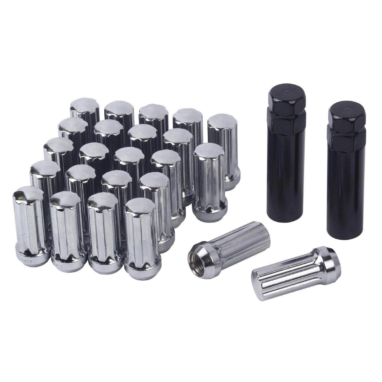 HanAuto Chrome Plating Lug Nuts with 2 Key(14mm x 1.5 Thread Size) - Pack of 24 Wheel Lug Nuts, 75114C242