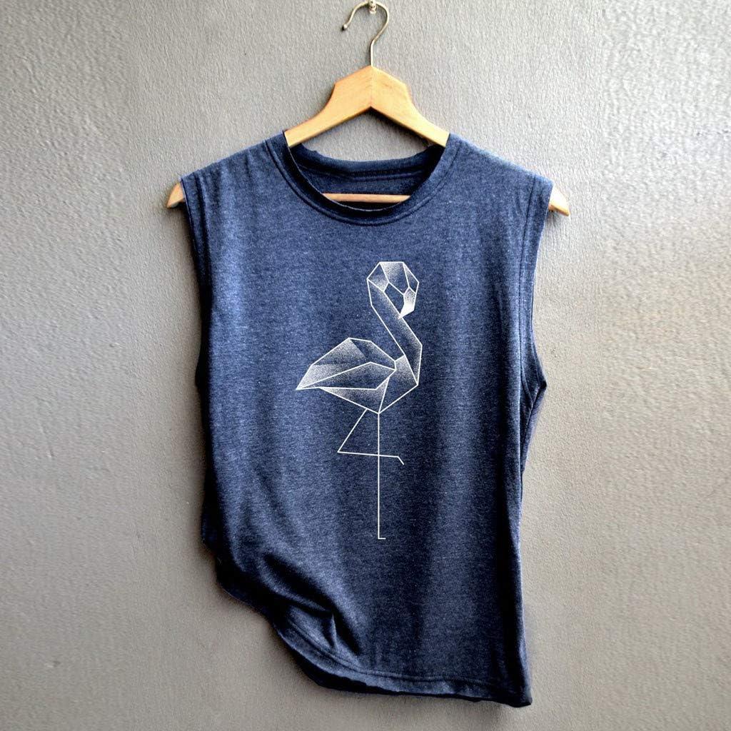 Women Sleeveless Crane Letter Print Sport Vest Top Tank