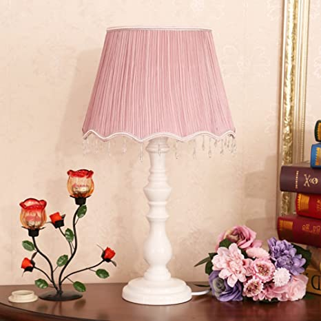 Bedside table lamp, Wooden vintage base fabric shade rustic table ...