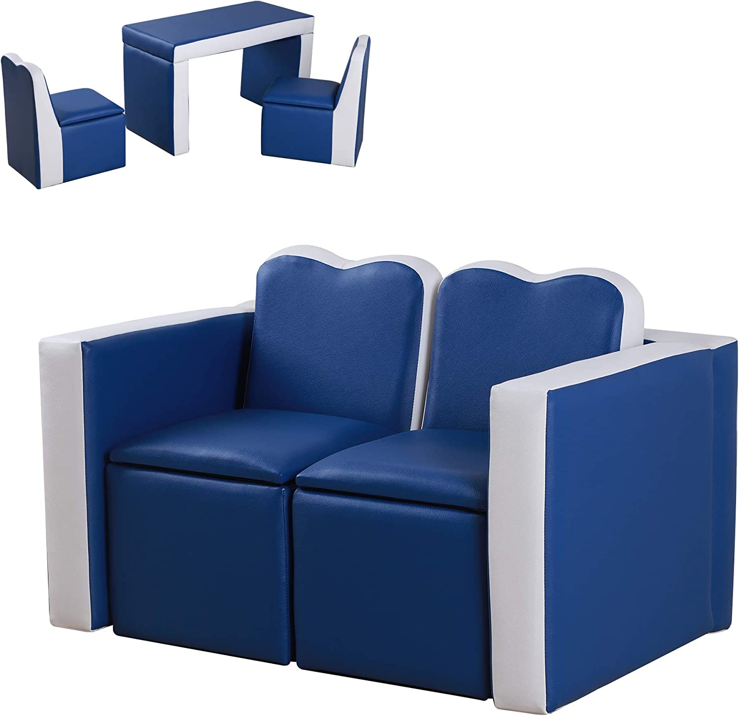 Qaba Children Kids Mini Sofa Armchair Dual-Use Comfortable Washable and Safe Foldable Suitable for Watching Movies and Playing Games Polyester Blue