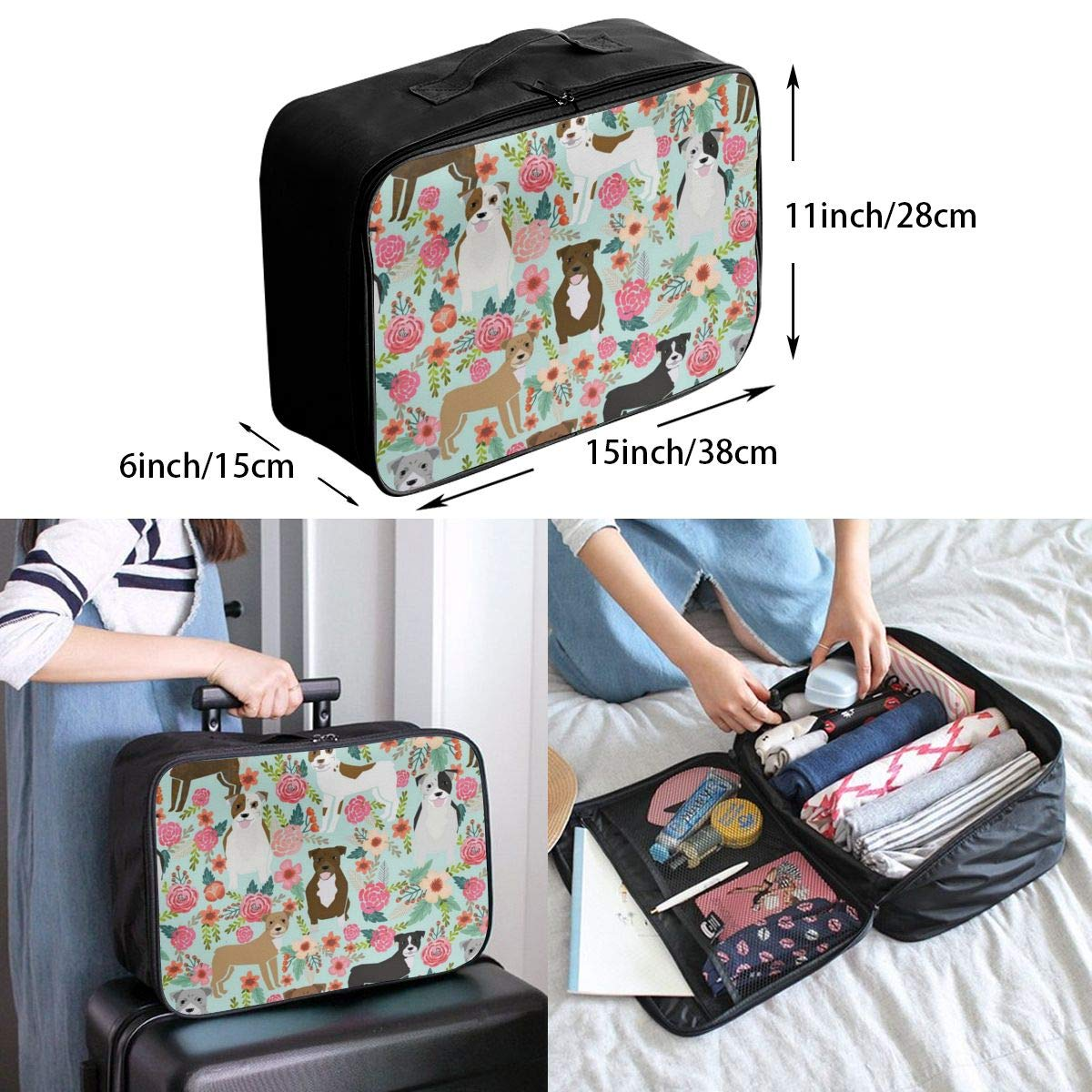 Travel Duffle Bag In Trolley Handle Lightweight Weekend Bags Nylon Luggage Duffel Bag Floral Sweet Bouquets In Navy Holiday Overnight Carry On Bag Gym Sports Tote Bag