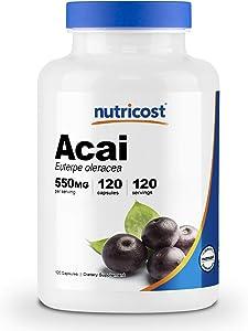 Nutricost Acai 550mg, 120 Capsules - Vegetarian Capsules, Non-GMO, Gluten Free