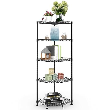 Amazon.com: Lifewit 5-Tire Corner Wire Shelf Bathroom Corner Shelf ...
