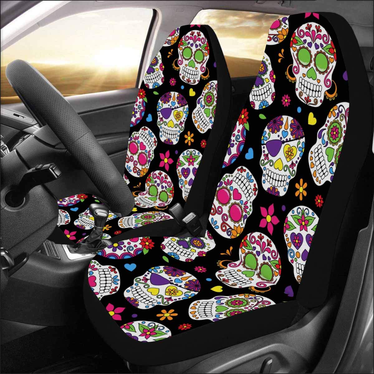 InterestPrint Auto Seat Protector 2 Pack Day Of The Dead Sugar Skull Car Covers Front