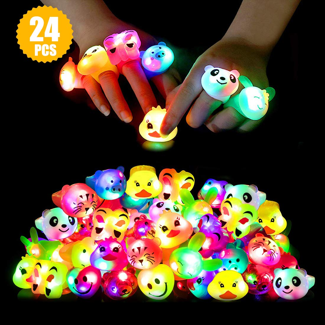 Light Up Rings Birthday Party Favors for Kids Prizes Flashing 24 Pack LED Jelly Rings Novelty Bulk Toys Boys Girls Gift Glow in The Dark Party Supplies by LionMoc
