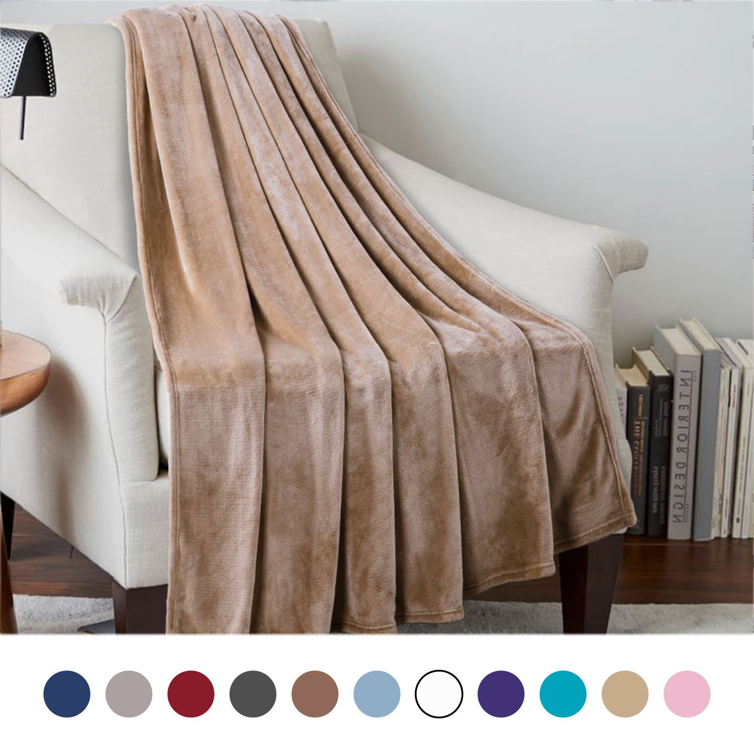 Bedsure Flannel Fleece Luxury Blanket Camel Twin Size Lightweight Cozy Plush Microfiber Solid Blanket