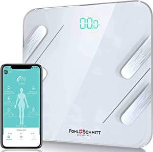 Pohl Schmitt Body Fat Bathroom Scale, Smart Digital Scale Tracks 13 Key Compositions, 8mm-Thick Glass, Sync with Apple Health and Google Fit, 400 lbs