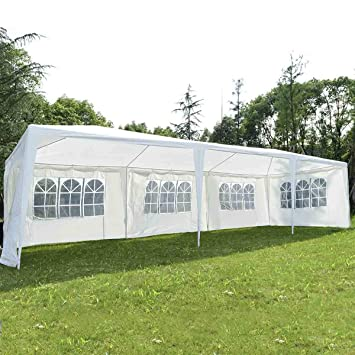 COSTWAY Tente de Jardin Tonnelle Tente de Réception en Tube Acier et PE  Pavillon de Jardin 3 x 9 m Blanche
