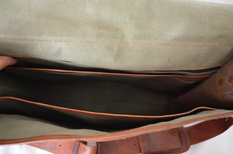 PL Leather Messenger Bag 16'' / Brown Leather Briefcase/Retro Handbag/Satchel / Hip Bag/Shoulder Bag/Carry Bag/Cabin Travel Bag for Men and Women