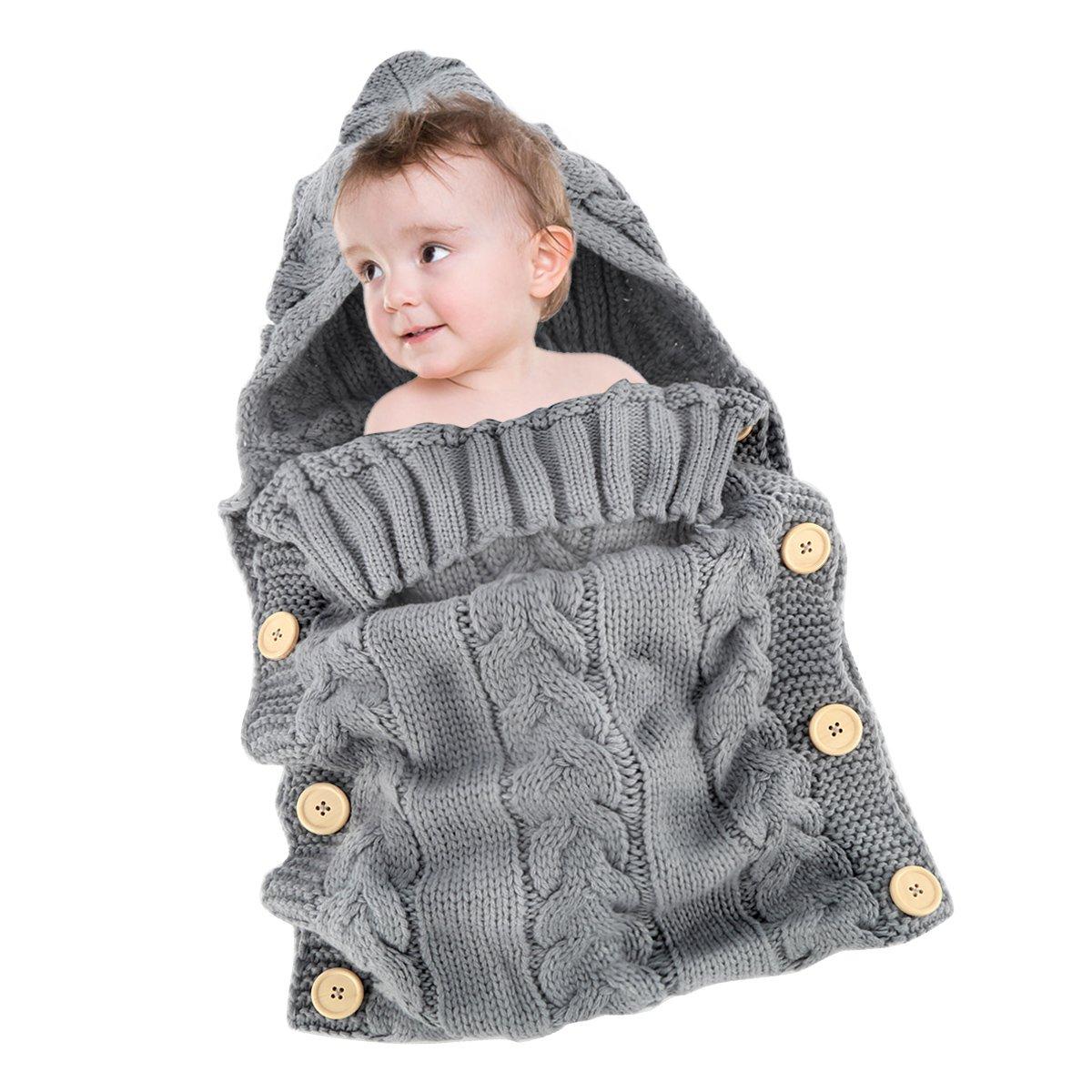 Yinuoday - Saco de dormir para bebé (forro polar, tejido de ganchillo, con capucha, para bebés de 0 a 12 meses) Without Fleece Grey Talla:30X14: ...