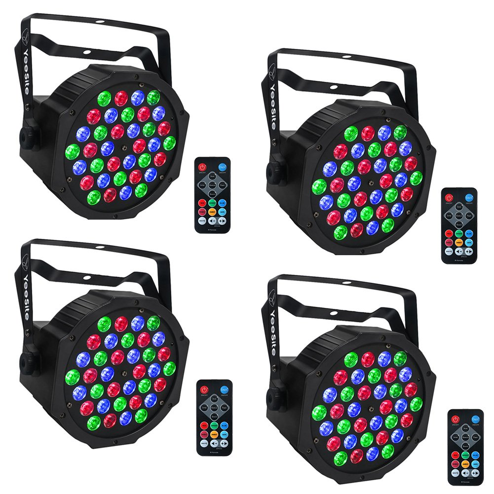 LED Par, YeeSite 36 LEDs RGB Stage Light with Remote Control DMX Lights for Church Wedding Stage Lighting - 4 Pack