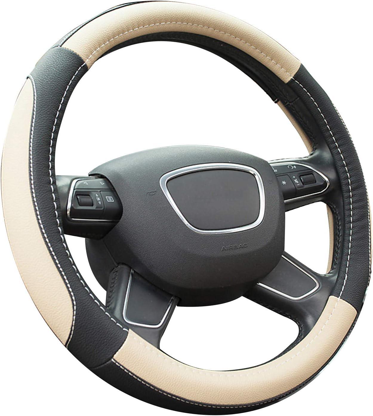 15 Anti-slip Breathable Durable SFONIA Car Steering Wheel Cover Steering Wheel Protector Microfiber Leather Universal 38cm White