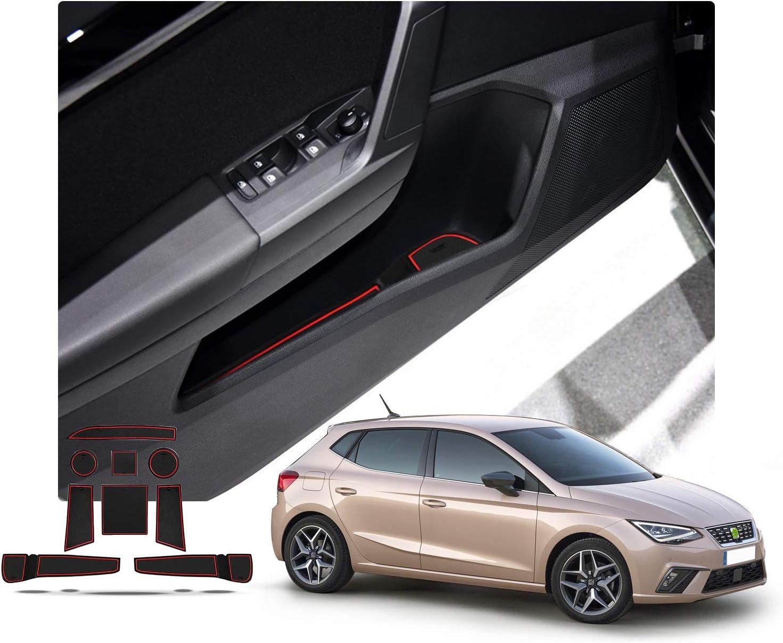 Ruiya Seat Ibiza Arona Antirutschmatten Auto Innere Türschlitz Arm Box Aufbewahrung Matten Pads Rot Auto