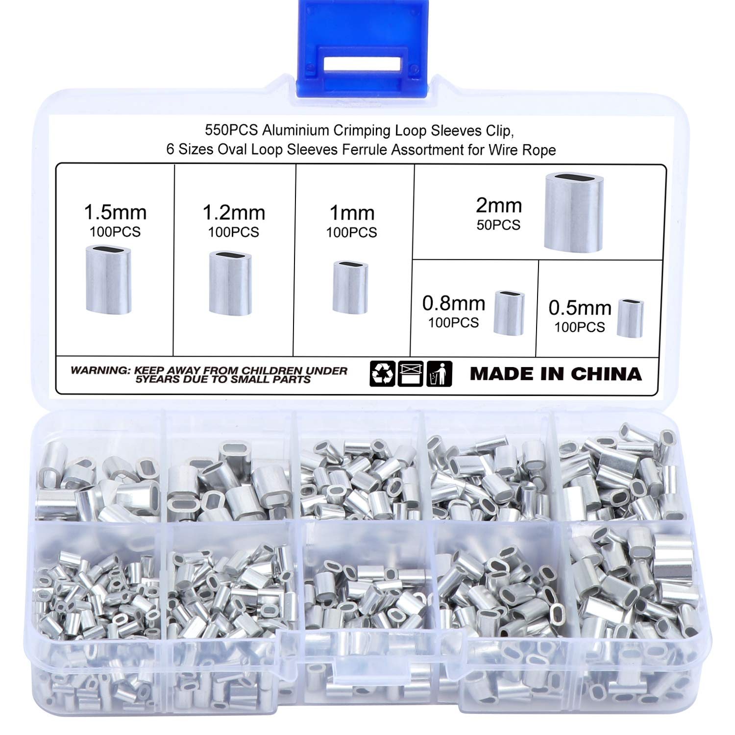 Aluminum Crimping Loop Sleeve Ferrule Assortment Kit 2mm for Wire Rope and Cable 100Pcs