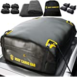 Car Top Carrier Roof Bag | 15 or 20 Cubic ft + Protective Mat - for Cars with or Without Racks - Car Rack System Rack…