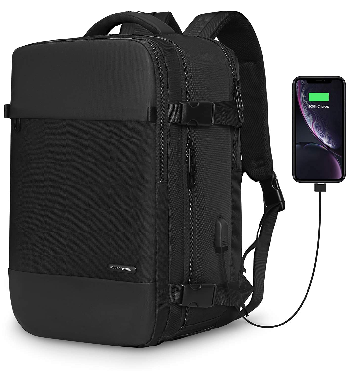 MARK RYDEN laptop Backpack carry on Bag with shoe compartment USB Charging Port fit 15.6 Laptop