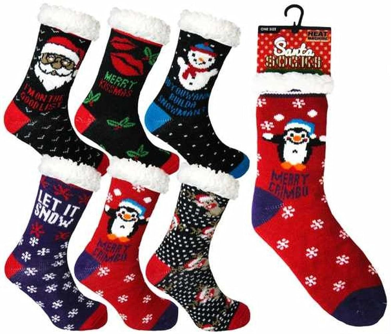 Ladies Heat Machine Let it Snow Soft Fleece Lined Christmas Slipper Socks
