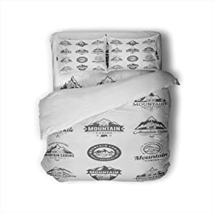 C COABALLA Vector Mountain Recreation and Cabin rentals Badges Illustration Bear,Duvet Cover 4 Piece Comfy 3D Print Inn Decorative 4 Piece Bedding Set with 2 Pillow Shams Full Size