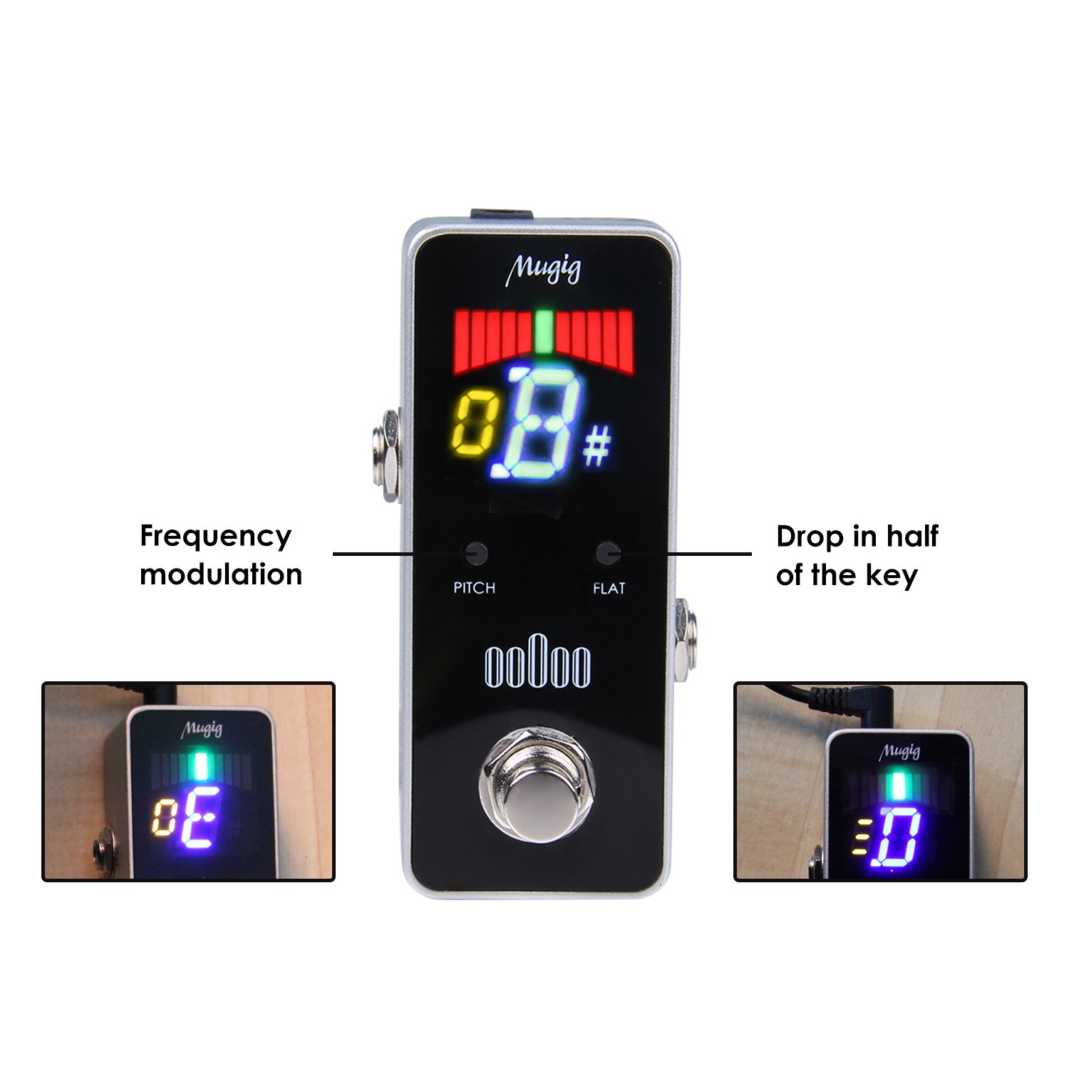 Mugig Chromatic Guitar Tuner Pedal True Bypass for Guitar / Bass, 9V Power Supply Required