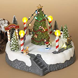 Lighted Musical Christmas Village Ice Skating Rink with Rotating Skater Figurines – Light-Up Animated Holiday Decoration – Tabletop Winter Home Decor