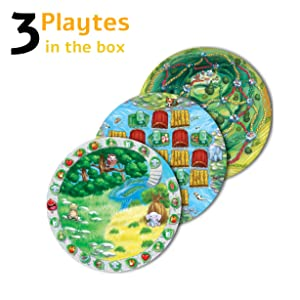Playte Adventure - Kids' Dinner Plate Game - Turn Dinner Time Into Play Time - Instill Your Child Healthy Eating Habits - Perfect for ADHD & Picky Eaters - BPA Free & Dishwasher Safe - Set of 3