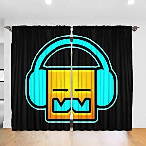 OTHERS Geometry Dash Curtain 2 Panels 52 X 84 in Rod Pocket