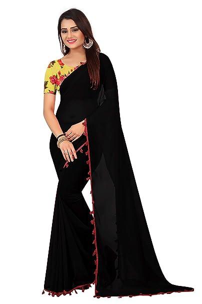 d1b5700def2379 Radiance Star Women s Georgette Saree With Printed Silk Blouse Piece (Black)