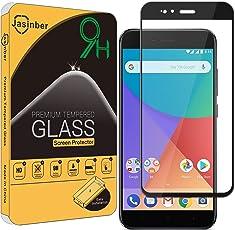 Jasinber Protector de Pantalla de Vidrio Templado de Cobertura de Pantalla Completa para Xiaomi Mi A1 (Negro)