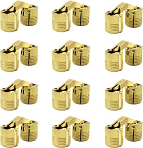 MIAO JIN 12 Pcs 10mm Brass Barrel Hinges Invisible Cabinet Furniture Hinges Concealed 180 Degree Opening Angle