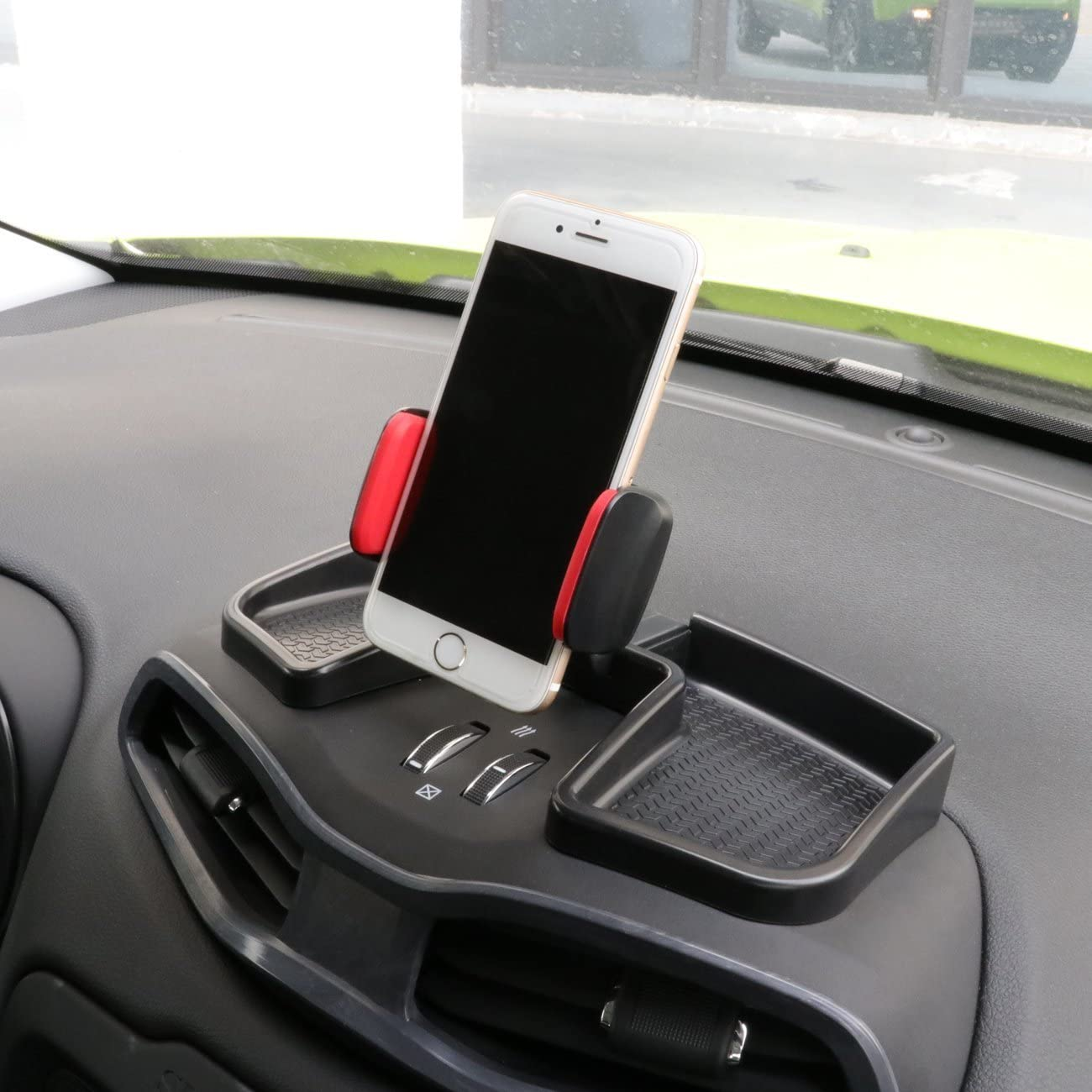 Yoursme Phone iPhone Holder Black/&Red Car Dash 360 Degree Rotate ABS Storage Box Portable Mount Stand Kit Fit for Jeep Renegade 2015 2016 2017 2018