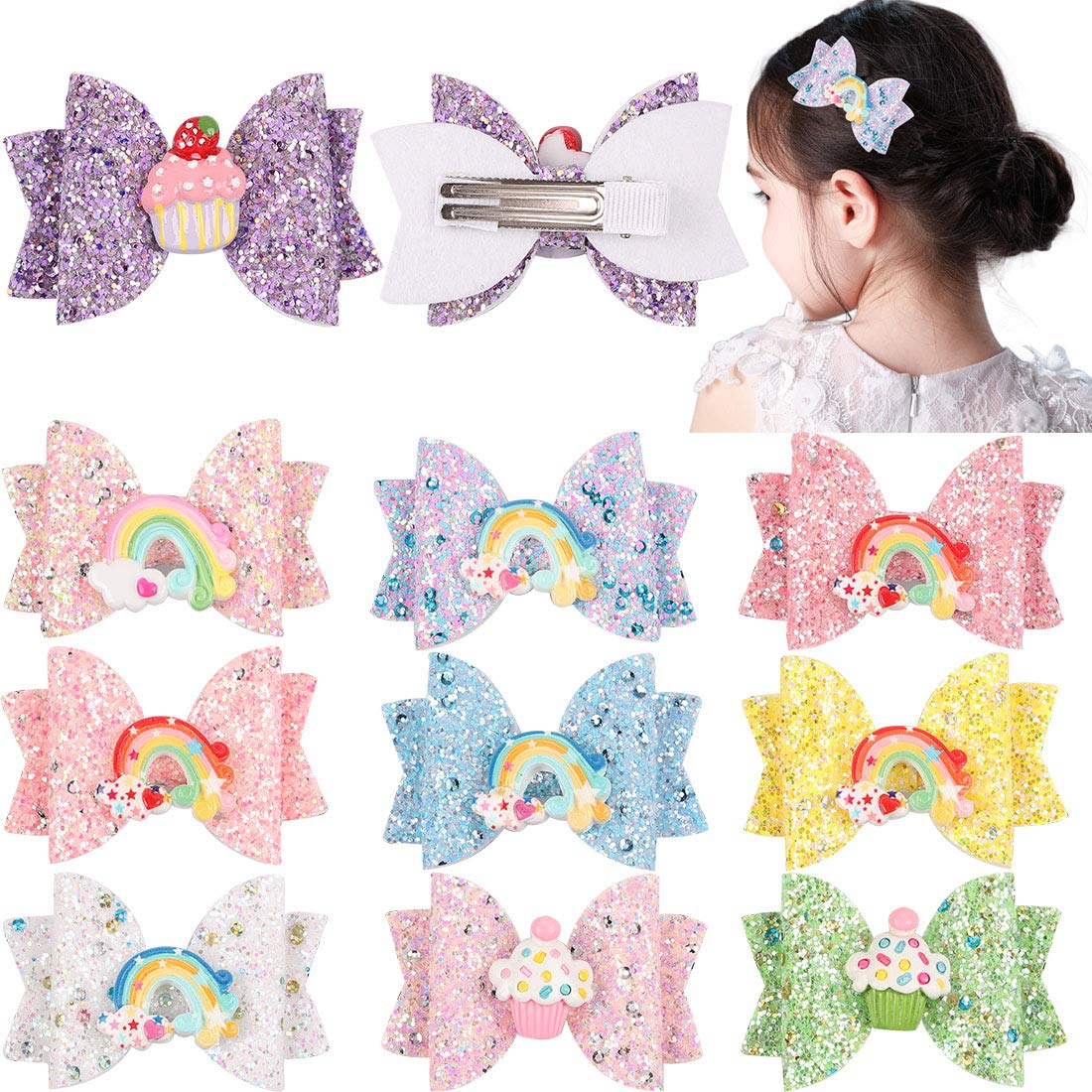 Hair Bows Double Layer Hair Bows for Girls Baby Girl Hair Bows Easter Bow