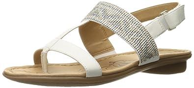 407b26155a03 Naturalizer Women s Wheeler Flat Sandal White 6 ...