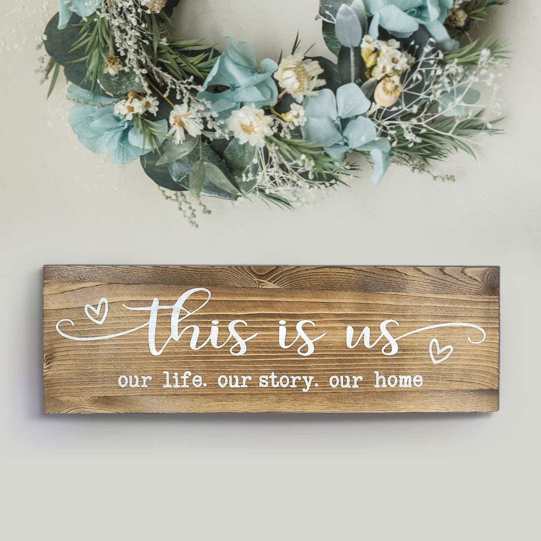 CHICVITA Rustic Wall Mounted Wood Sign, This is Us Painted Farmhouse Wall Decoration for Living Room Bedroom Entryway Kitchen, 16.5