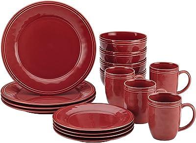 Rachael Ray Cucina Dinnerware 16-Piece Stoneware Dinnerware Set Cranberry Red