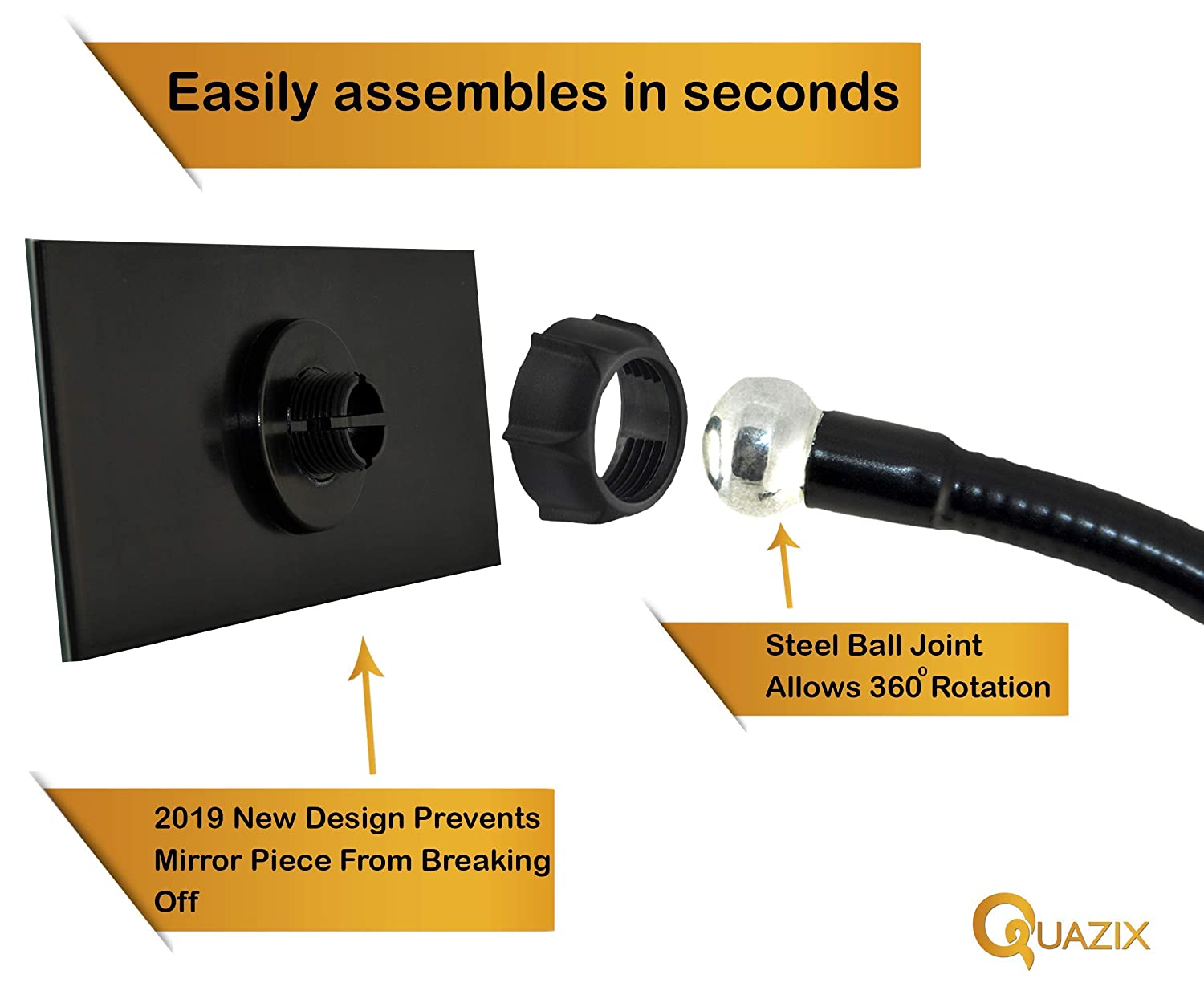 Black Quazix Clip On Desk Mirror for Office Security See Whos Sneaking up Behind You!
