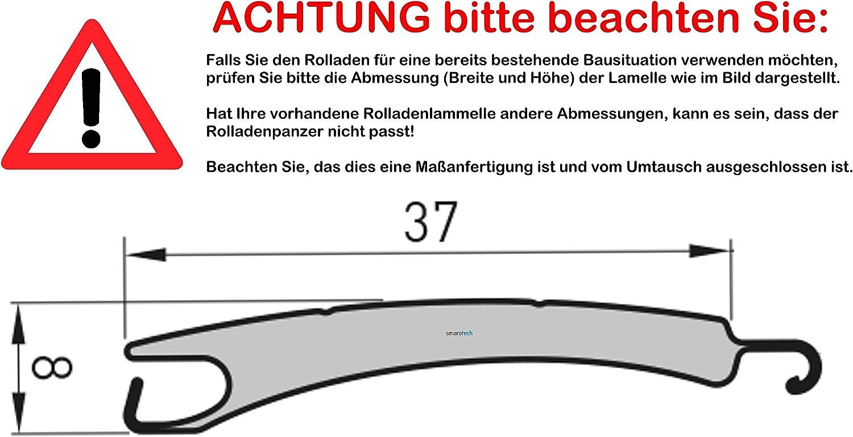 Rollladenpanzer ALU Mini grau Ma/ßanfertigung nach Kundenwunschma/ß: 112cm Breite x 220cm H/öhe 37 x 8mm durch smarotech/® Deutschland