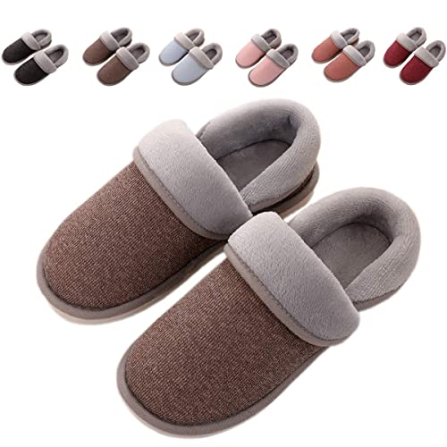8db5d6aa8d2 OOLIVUPF Womens Mens Cotton Slippers Memory Foam Plush Lining Slip-on House  Shoes Indoor Outdoor
