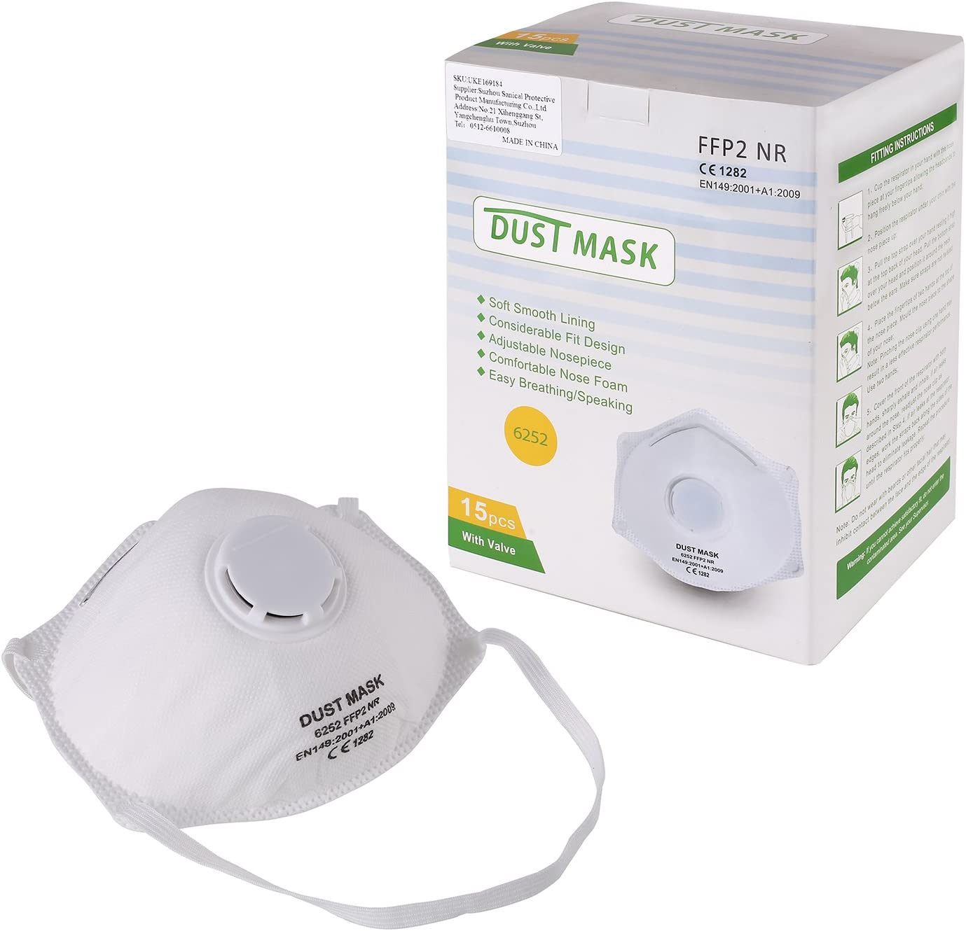 Fixkit Lot De 15 Masques Respiratoires Filtrant Masque De Protection Contre Particules Irritantes Anti Poussière Anti Buée Et Anti Fumée