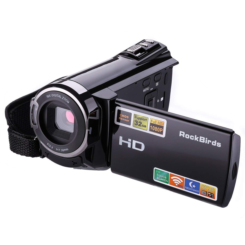 Camcorders, RockBirds HDV-5052STR Digital Video Camera HDMI 1920x1080p Portable FHD WiFi Camera, Night Vision 30FTPS Video Camcorder with Touchscreen, 16X Digital Zoom(Black) (5052)