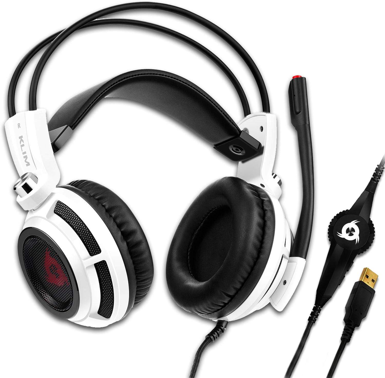 KLIM Puma – Cascos Auriculares Gaming con micrófono – Sonido Envolvente 7.1 – Cascos PS5 Audio – Vibración integrada – Blancos – Ideales para Jugar en PC, PS4, PS5 - Nueva Versión 2021