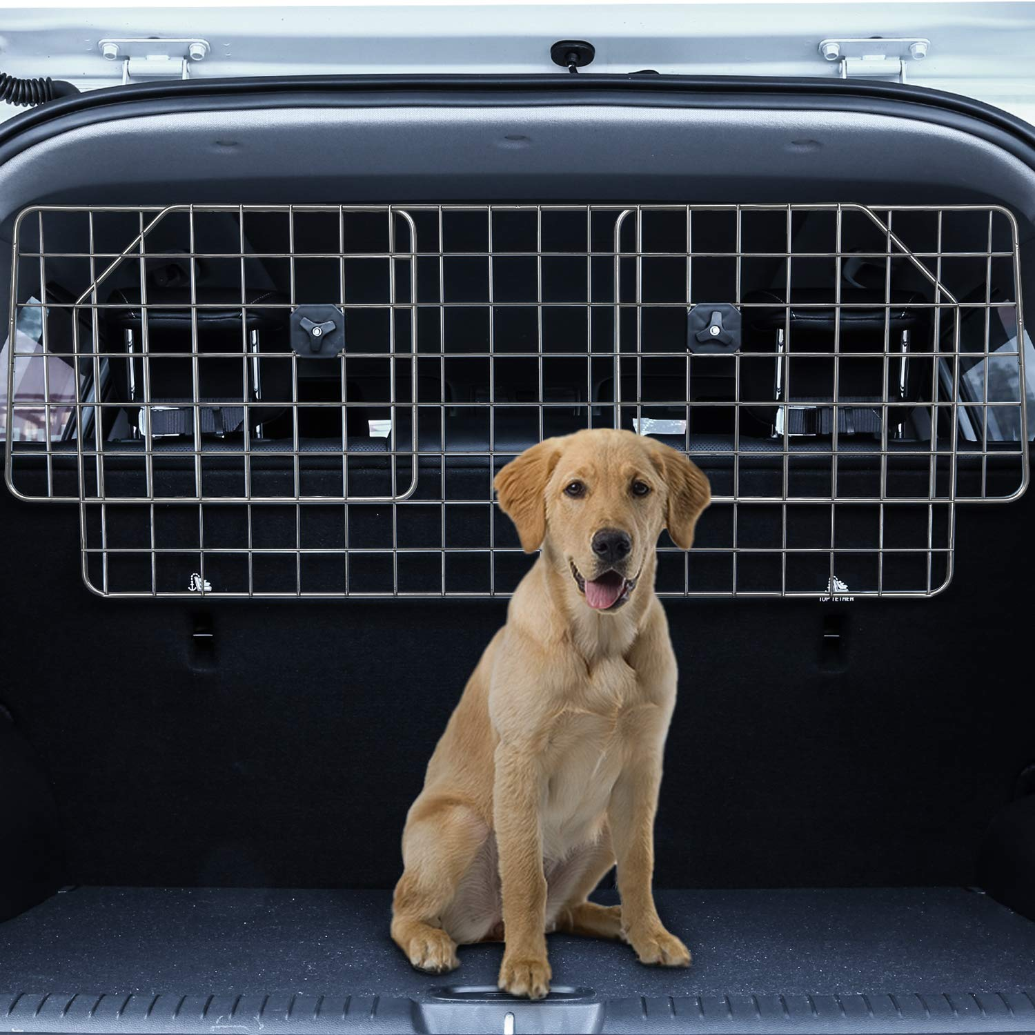Sailnovo Dog Barrier for Car SUV Vehicles, Adjustable Pet Barrier Wire Mesh Dog Car Barrier for Cargo Area – Universal Fit