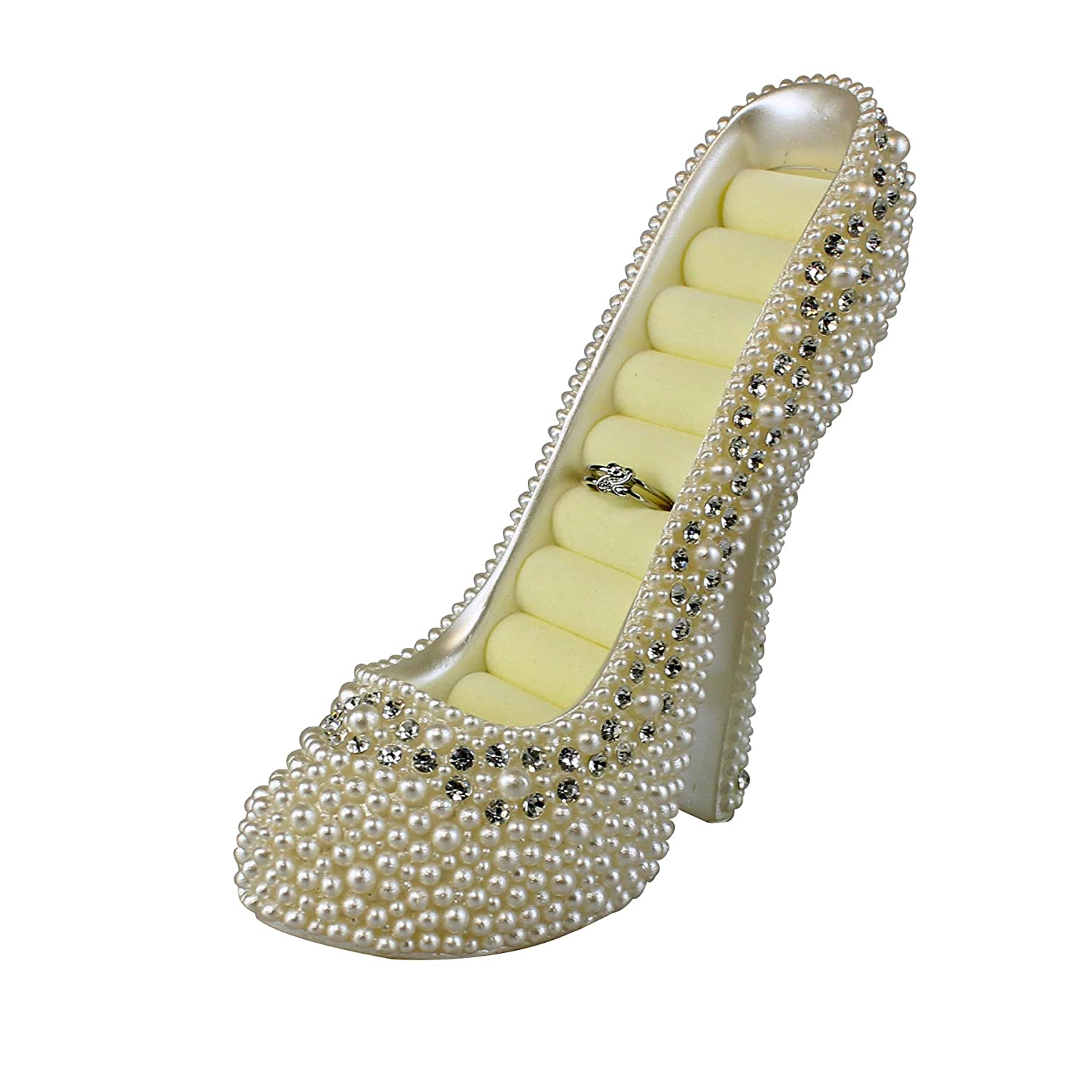 e25a2055fefd Jewelry Towers JewelryNanny 8-Ring Shoe Lovers Simulated Pearl Crystal High  Heel Ring Holder Shoe White ...