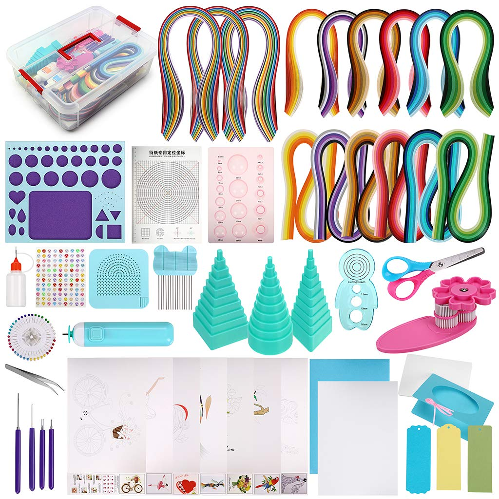 MDLUU Paper Quilling Kit with 1860 Strips and Quilling Tools and Storage Box, Paper Quilling Craft Great for DIY Learning Class, Home Decoration, Birthday Gift